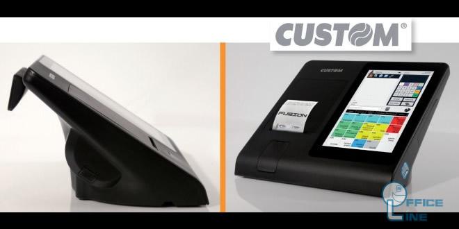 IlCustom Fusion, un nuovo punto cassa moderno e flessibile che include in un PC-POS All-In-One, una stampante fiscale da 80 mm ad alta velocità, oltre che il giornale elettronico ed il display cliente integrato.