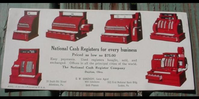 Pubblicità di azienda di vendita e assistenza di Registratori di cassa (National Cash Register).